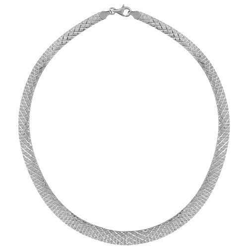 Collier Argent 925 Omega Semi-Rigide Strié