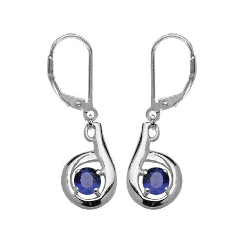 boucles d 39 oreilles argent pas cher dormeuse zirconium serti rond bleu bijoux argent. Black Bedroom Furniture Sets. Home Design Ideas