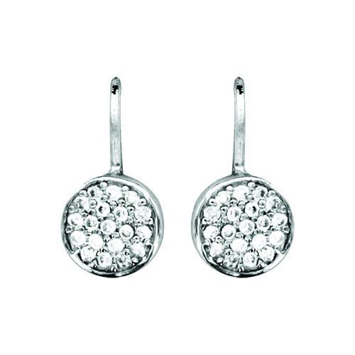 boucles d 39 oreilles argent dormeuse pierre zirconium pastille blanc bijoux argent. Black Bedroom Furniture Sets. Home Design Ideas