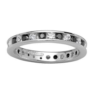 Bague Argent 925 Style Alliance Rail Zirconium Bicolore
