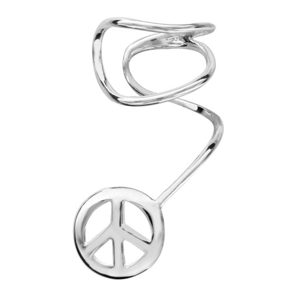 Boucle d 39 oreille de lobe argent peace and love - Boucle d oreille peace and love ...