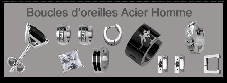 boucles d 39 oreilles homme acier bijputerie la perle d 39 argent. Black Bedroom Furniture Sets. Home Design Ideas