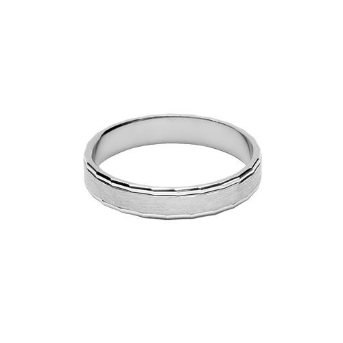 Bague Alliance Argent 925 Chanfrin Brillant 4 mm
