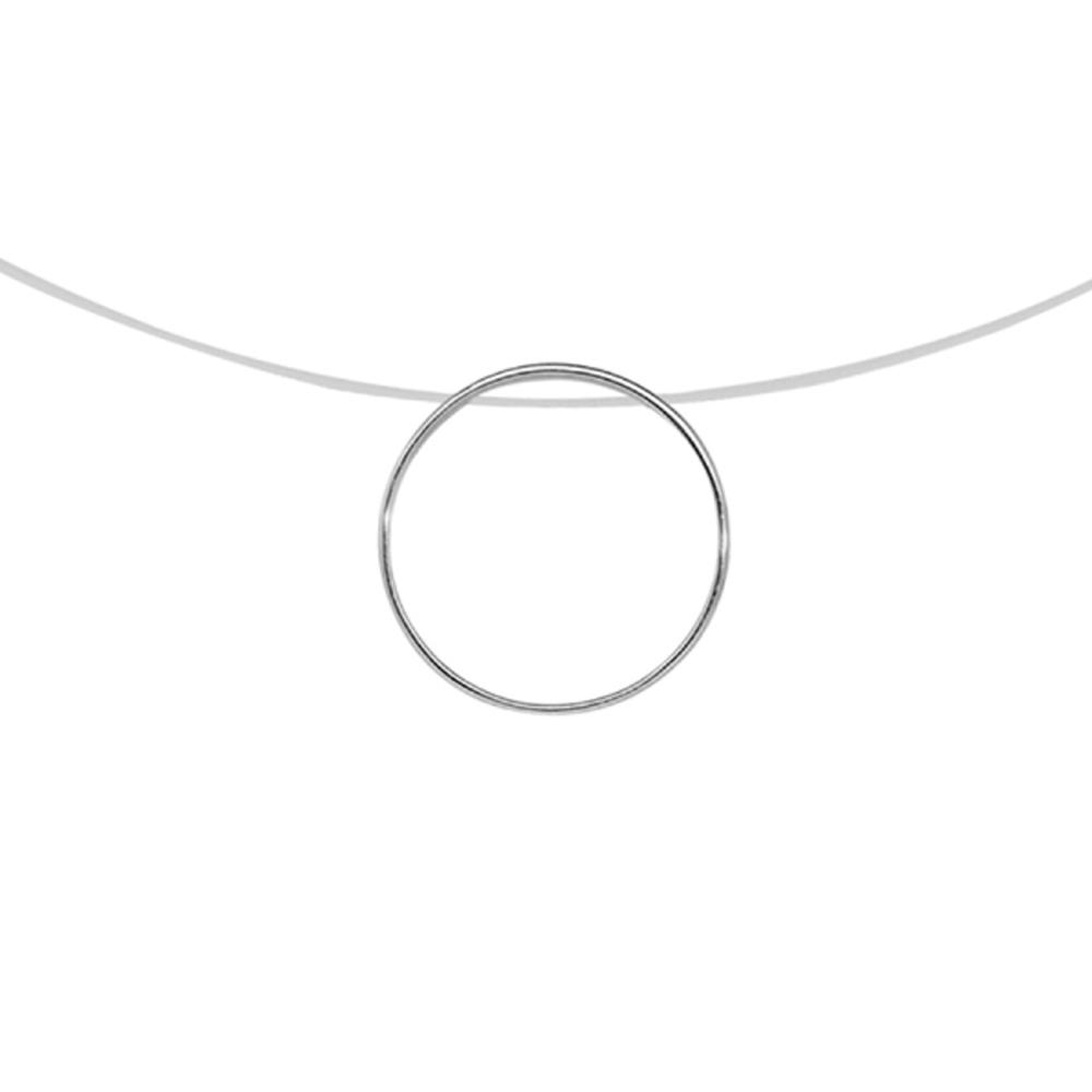 collier argent fil nylon