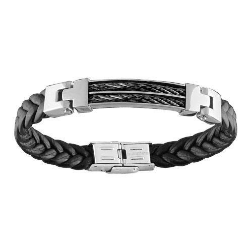 Bracelet Acier 316 L et Cuir Tressé Double Cables Noir