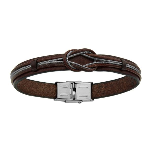 bracelet acier homme cuir marron cable avec noeud. Black Bedroom Furniture Sets. Home Design Ideas