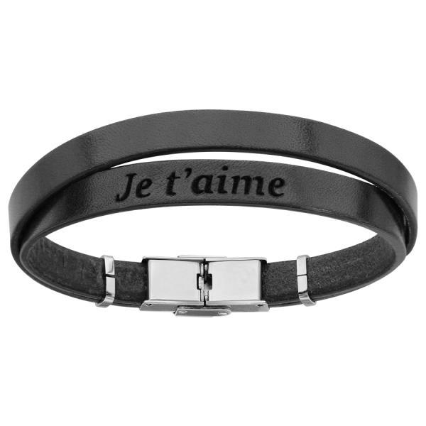 taille 40 61f0f 72772 Bracelet Acier 316 L Cuir Noir Message Caché