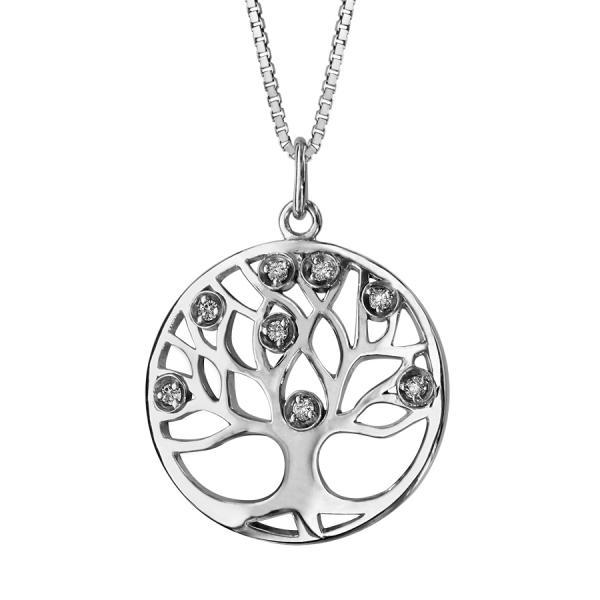 collier argent pendentif rond arbre de vie zirconium blanc. Black Bedroom Furniture Sets. Home Design Ideas