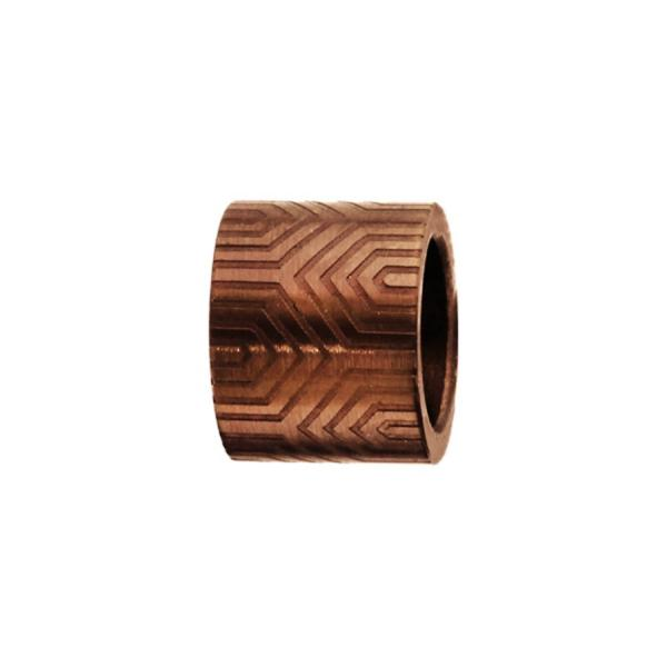 Charms Acier 316L Forme Tube Motif Aztèque Marron