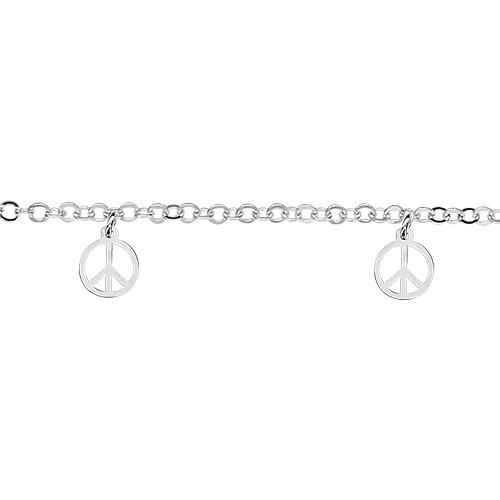 Bracelet Argent 925 5 Pampilles Charms Peace and Love
