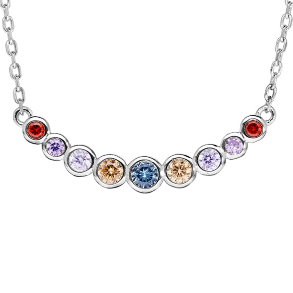 Collier Argent 925 Zirconium Multicolore