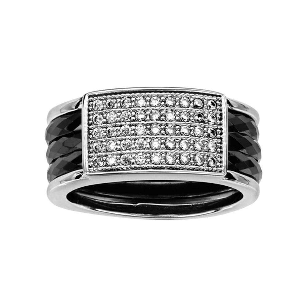 bague argent 925 3 anneaux c ramique noire facet s pav zirconium. Black Bedroom Furniture Sets. Home Design Ideas
