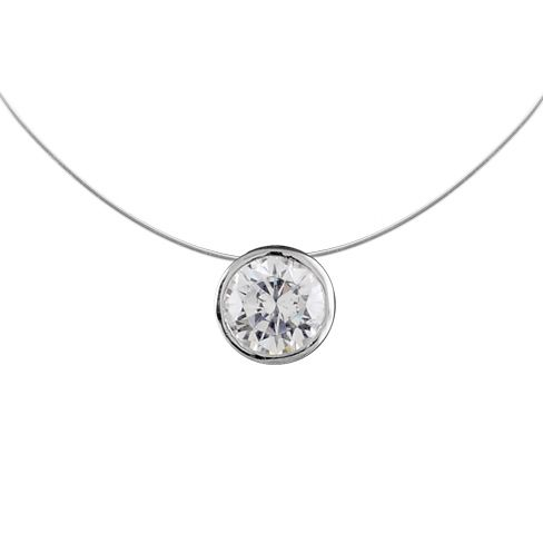 collier argent rond zirconium