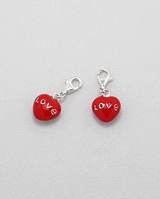 Charms Argent 925 Coeur Rouge Love