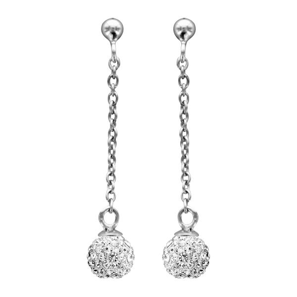 boucles d 39 oreilles argent femme pendante chainette boule. Black Bedroom Furniture Sets. Home Design Ideas