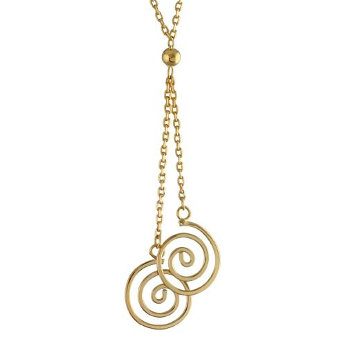Collier Plaqué Or Pendentif Double Spirales