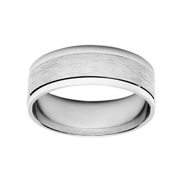 Bague Alliance Argent 925 Chanfrin Brillant 7 mm