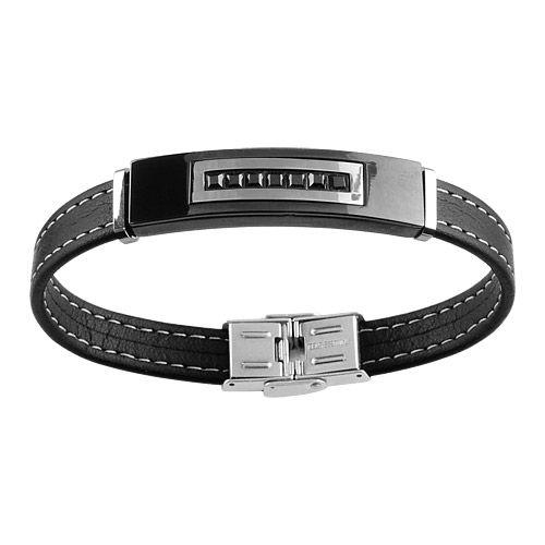 Bracelet Homme Acier Et Cuir Plaque Noire Moderne