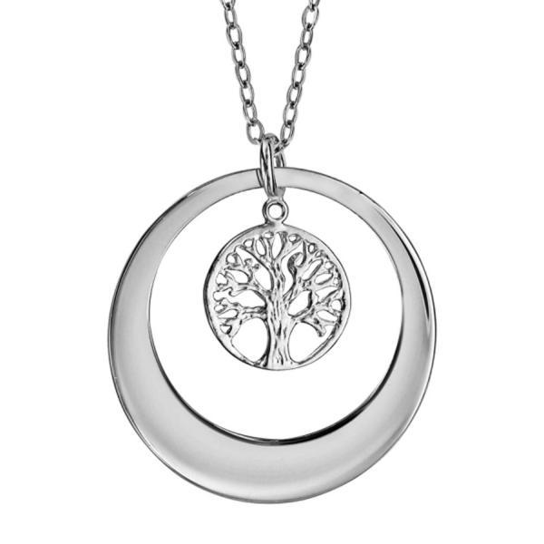 collier argent 925 femme pendentif rondelle arbre de vie bijoux argent. Black Bedroom Furniture Sets. Home Design Ideas