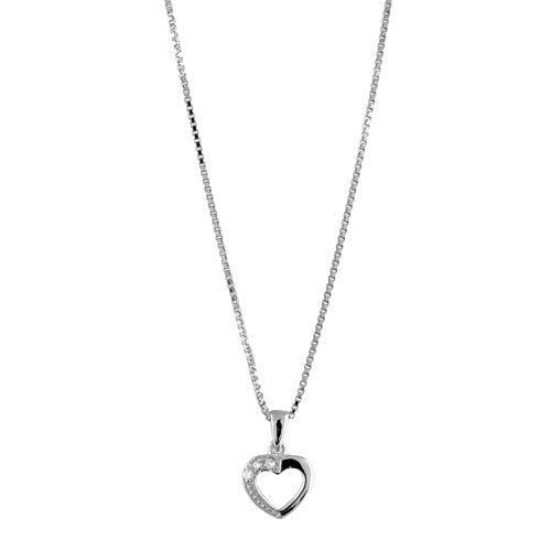 collier avec pendentif argent femme et zirconium coeur. Black Bedroom Furniture Sets. Home Design Ideas